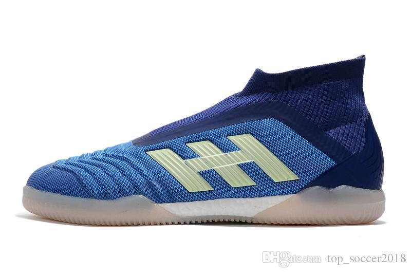 Hot Messi blu bianco 100% originale piatto Scarpe da calcio slip-up Predator 18 IC Scarpe Indoor Soccer Pogba superiore di calcio dei morsetti