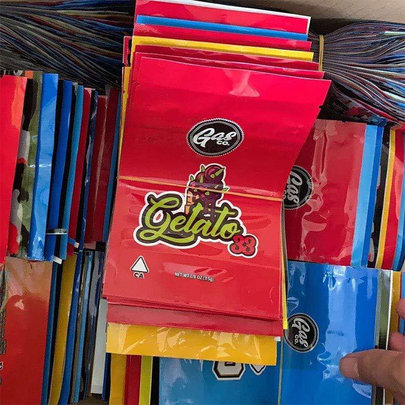 Hot Gasco Mylar Sac emballage de détail 7 Options Sac Zipper de 1/8 oz Emballage de stockage pour le tabac Herb Dry Flower California Gas Co En stock