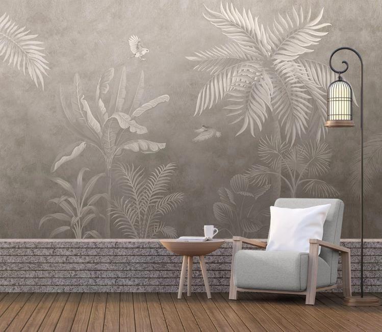 pintado a mano retro selva tropical fondo de pantalla en 3D para las paredes de la sala de TV rollo dormitorio Antecedentes Wall Papers Papel de pared Decoración