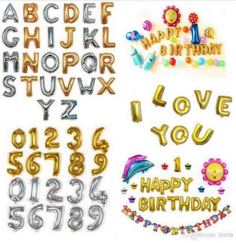 32 pouces hélium ballon à air en forme de lettre Nombre d'or d'argent gonflable anniversaire de mariage Décoration Ballons Party Supplies événement