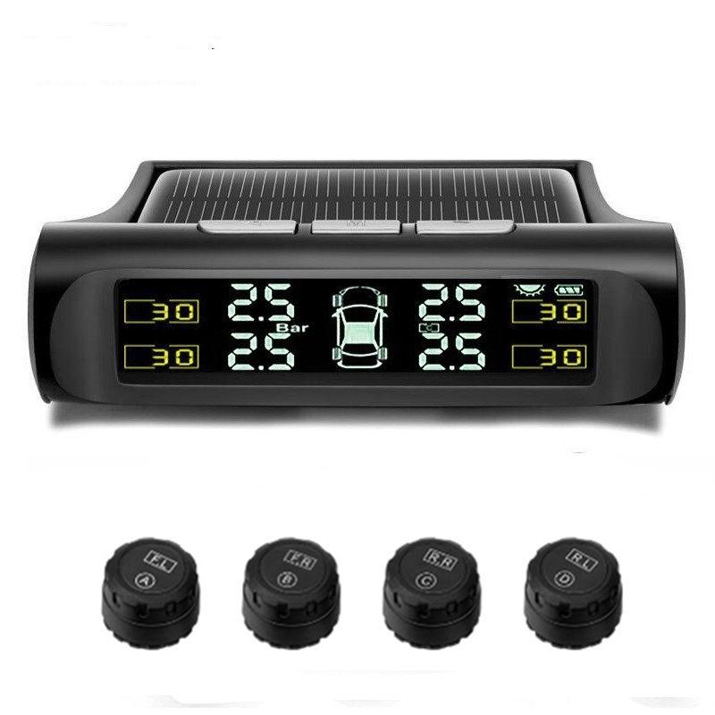 Wireless Car TPMS Tyre Pressure Monitoring System Solar Power Charging Digital LCD Display Auto Driving Security Alarm Systems