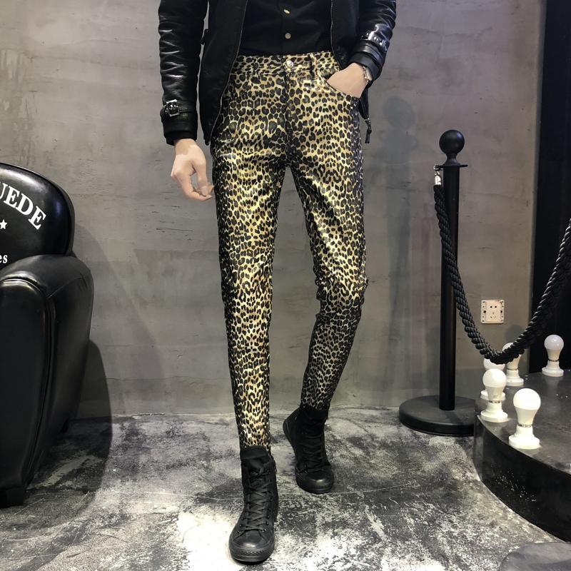 2018 otoño, pantalones casuales de hombre Slim Fit Pu, pantalones de cuero para hombre hombre oro slim fit streetwear