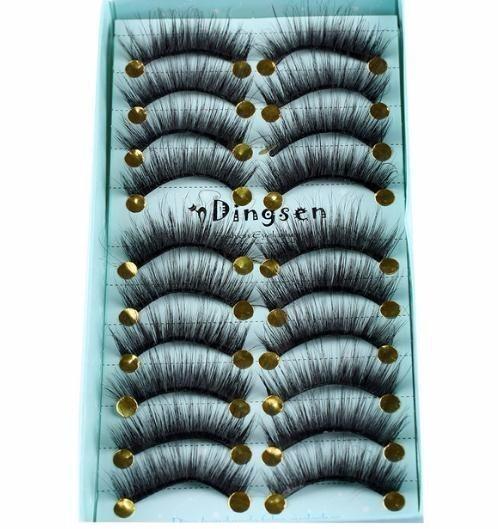 10pairs/set 3d Thick Long False Eyelashes Wispy Multilayer Black Lash Eye Extension Makeup Tools