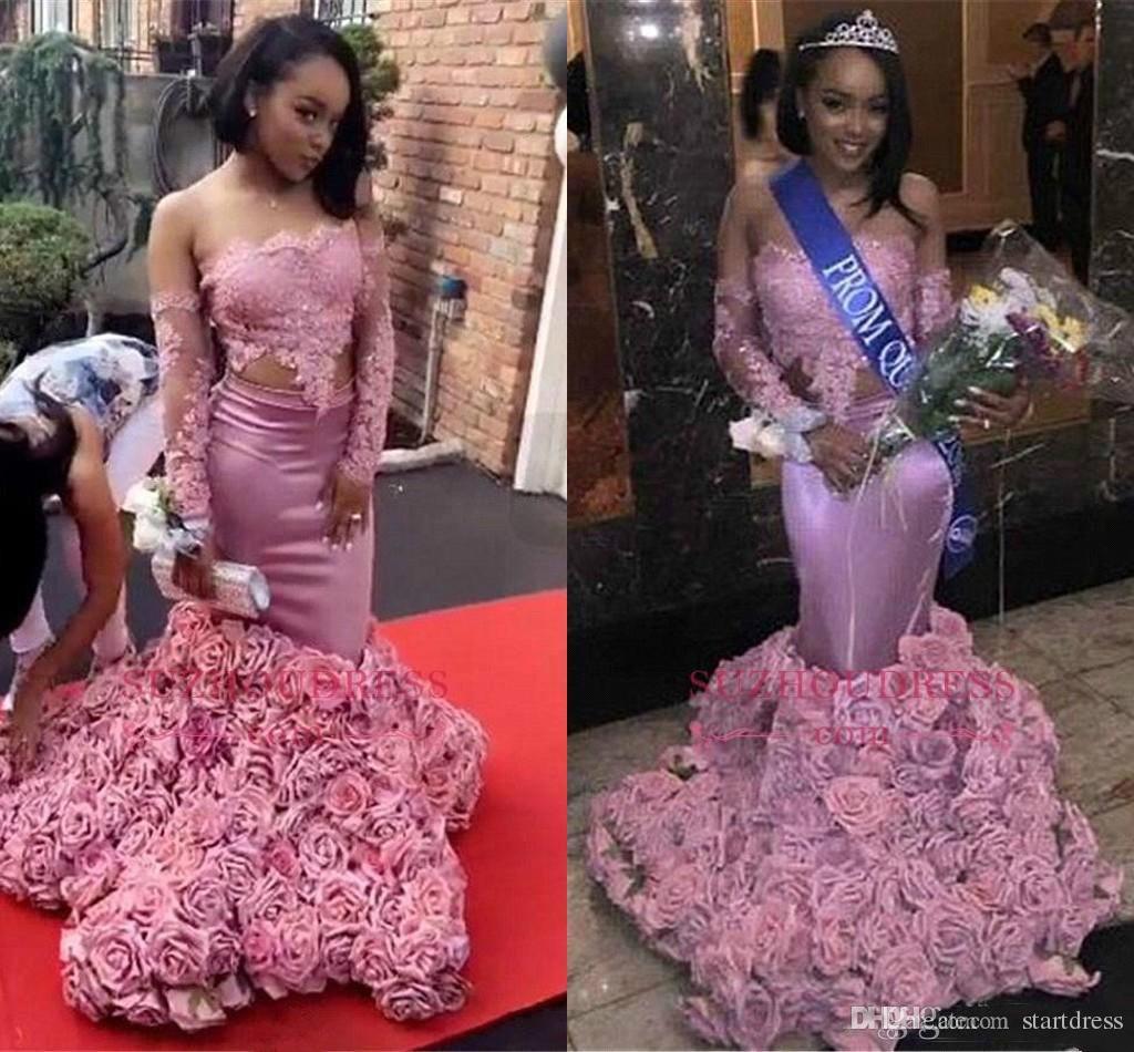 Pink Two Piece Black Girls Mermaid Prom Dresses African Off Shoulder Rose Floral Flowers Formal Dresses Evening Wear yousef aljasm 2019 Plus