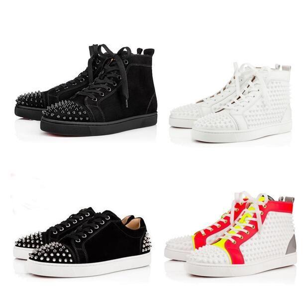 Original Box Designs Schuhe Spike Junior-Kalb Low Cut MIX10 Red Bottom Sneaker Luxus-Partei-Hochzeit Schuhe Leder Spikes Lace-up beiläufigen Schuh