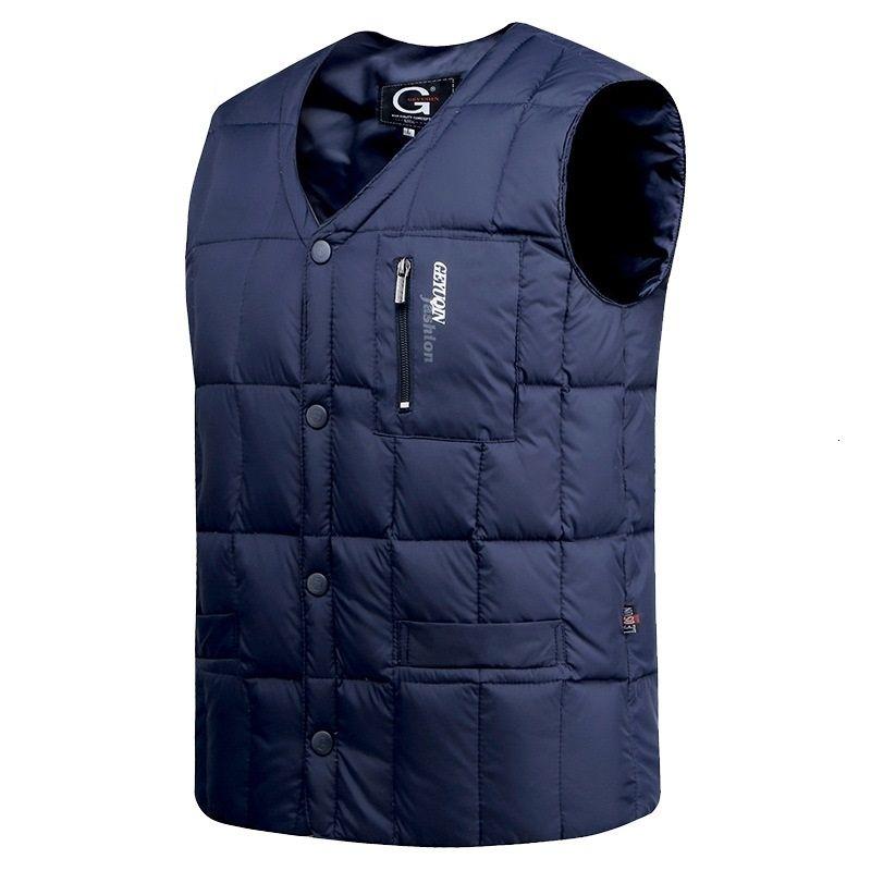 Белая утка вниз куртка жилет Мужчины Осень Зима теплая рукавов Кнопка V-образным вырезом вниз Легкий Жилет Мода Повседневная Мужской жилет S191128