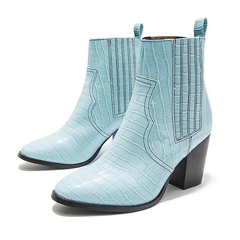 Moto occidentale del cowboy Stivali Donne del coccodrillo del modello in pelle brevi cosacchi Tacchi alti Riverso stivaletti alla caviglia Botas Shoes