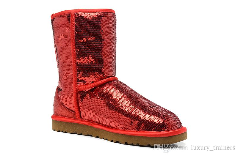 2019 botas clásicas para mujer de Australia para mujer, botas altas para nieve, botas de invierno, rojo, amarillo, plateado, botas brillantes, zapatos