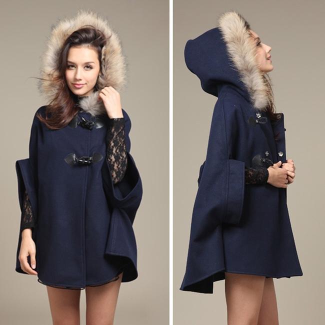 Miscele di lana da donna 2021 Donna Girl Faux Scialle di pelliccia con cappuccio Poncho Batwing a metà manica Cappotto Cappotto Giacca invernale Giacca invernale