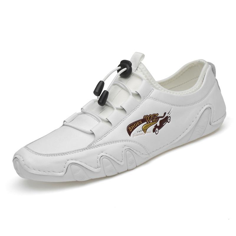 Sapatos de novos homens de couro genuíno Homens calçados casuais Primavera e Outono preguiçosos Deslizamento-na macia Homens Plano Driving 38-46