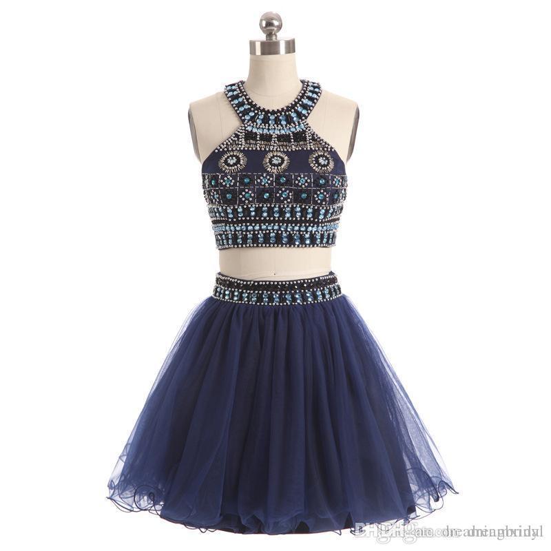 Темно-синий Homecoming платья линия из двух частей бальное платье из бисера органзы короткий выпускной вечер коктейльные платья SP353