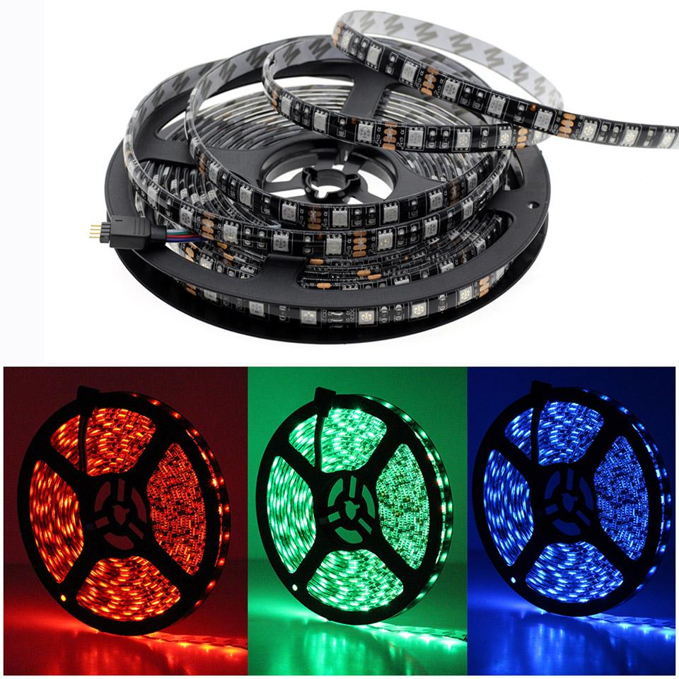Siyah PCB Şerit LED 5050 DC12V su geçirmez Esnek Led Işık Bant 60led / M Beyaz / Isınma Beyaz / Kırmızı / Yeşil / Mavi / RGB Şerit LED Işık