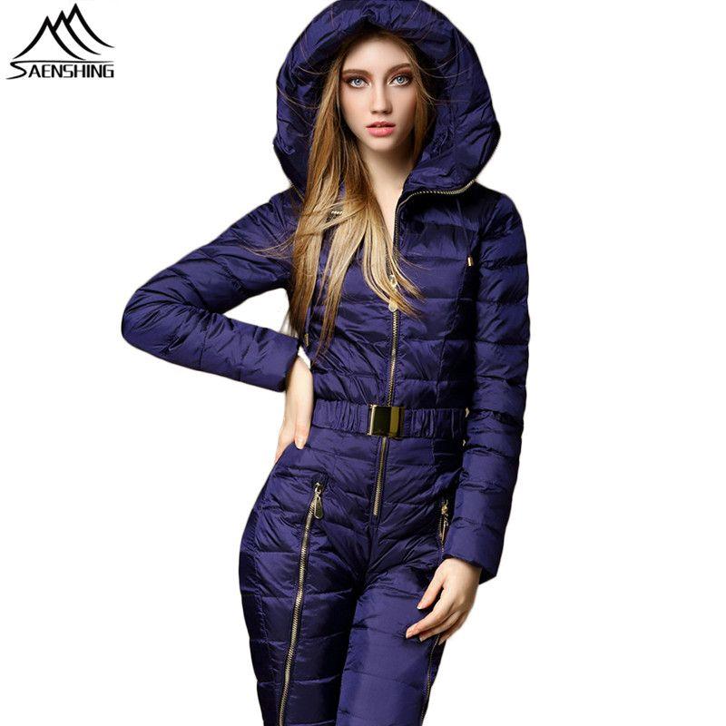 Saenshing One Peça Ski Suit Mountain Ski Feitiço Mulheres Duck Down Warm Winter Casaco Esqui Respirável Winter Winter Suits