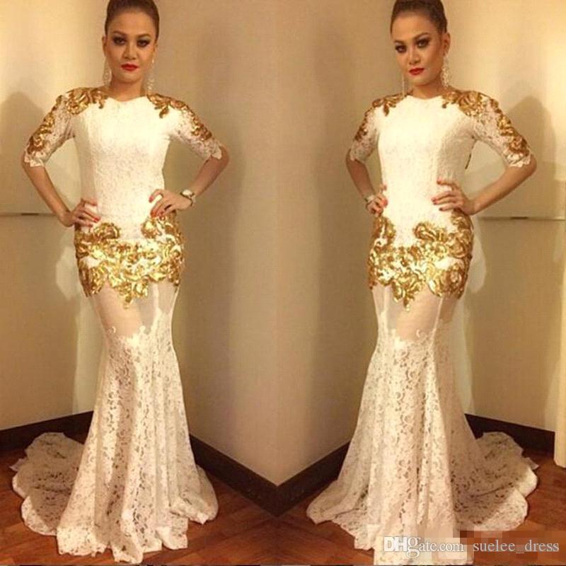 2019 빈티지 머메이드 이브닝 드레스 1/2 롱 슬리브 골드 어플 레어 Aracbic Lace Long Prom Party Dress