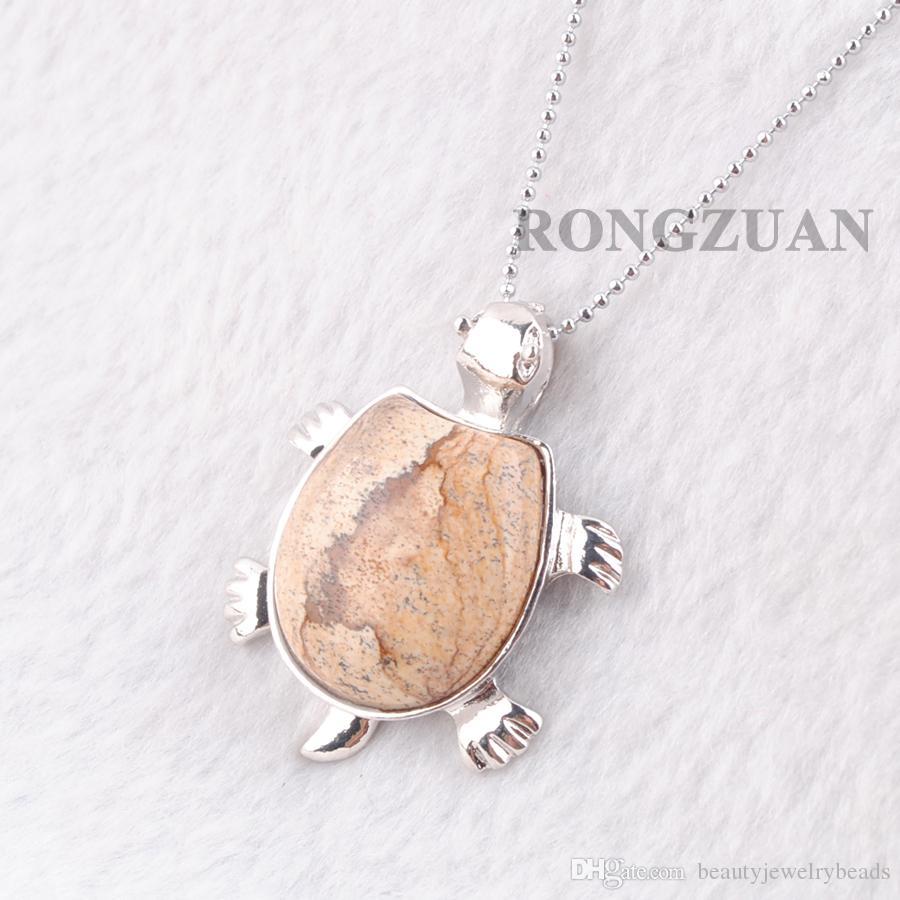 "Pendulum Pendant Necklace Natural Owyhee Picture Stone Tortoise Shape Pendants Bead women men Fashion Jewelry Chakra charms Chain 18"" DN3733"