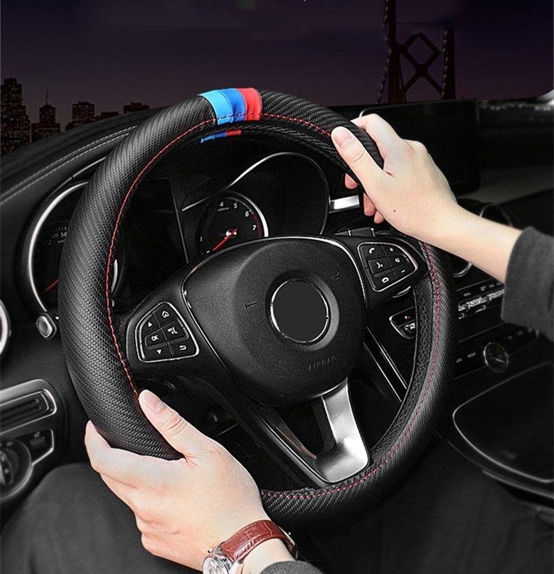 Новый Рулевое управление Luxury Car Wheel Cover 15 дюймов для BMW M спортивный углерода модели волокна Автомобили Кожа сидений подушках Авто аксессуары BMW