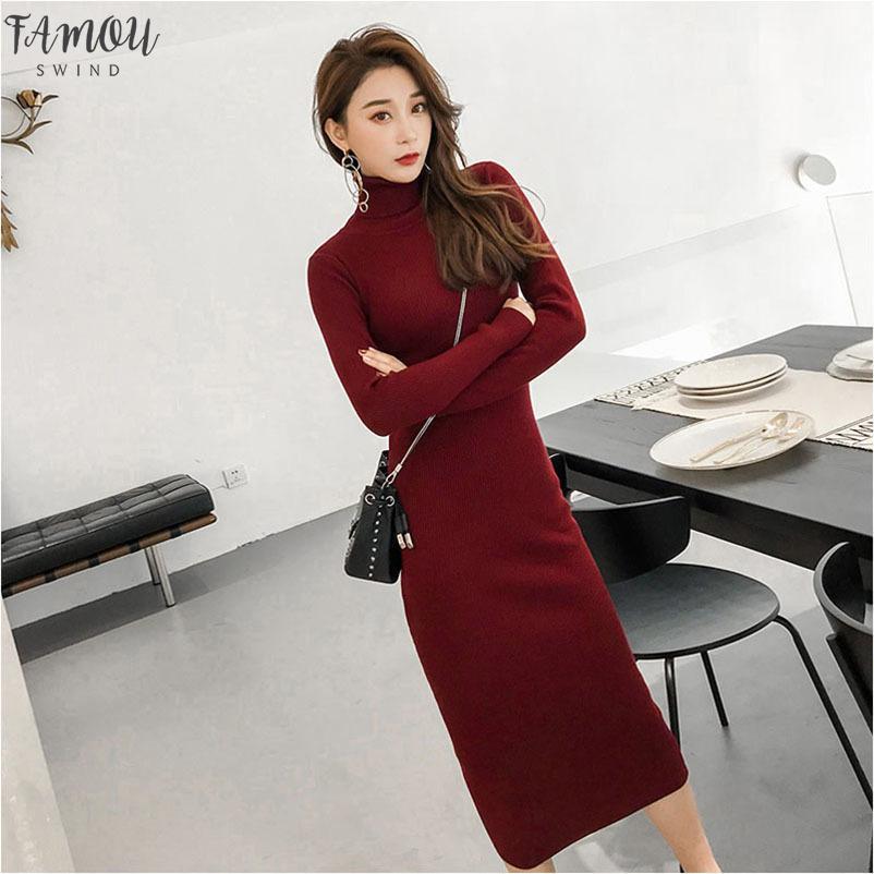 Automne Hiver Femmes maxi base Robe pull à col roulé en tricot sexy moulante à manches longues robe longue robe élégante robe chaud