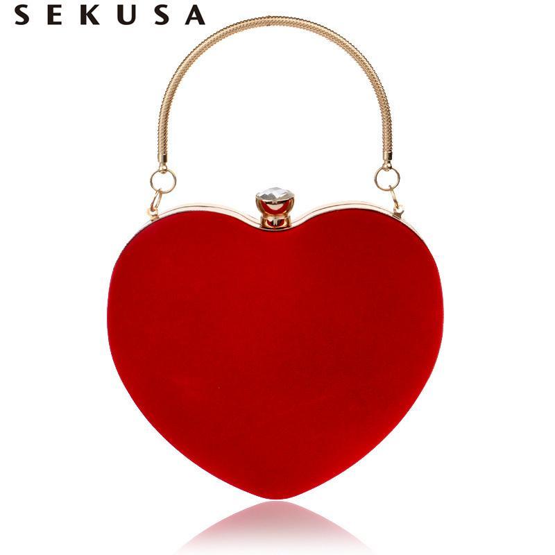 Sekusa Coração Em Forma de Diamantes Mulheres Sacos De Noite Vermelho / preto Cadeia Ombro Bolsa Embreagens Dia Sacos De Noite Para O Partido Do Casamento J190630