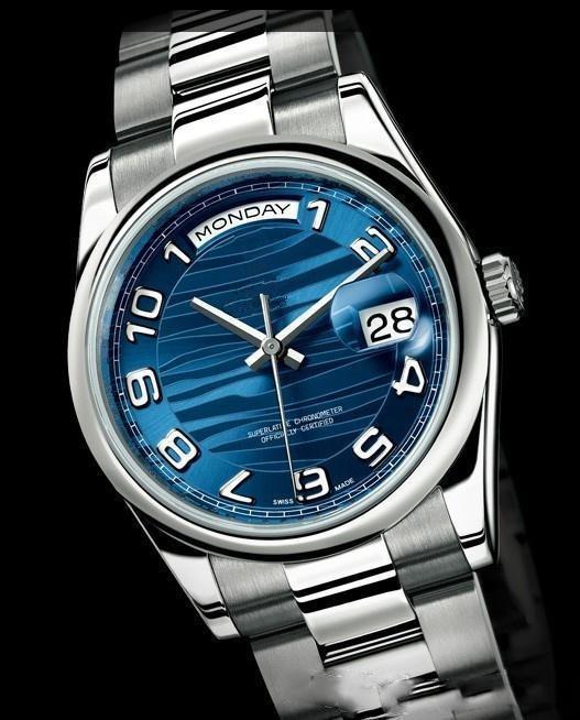 자동 남성 뜨거운 판매 최고 품질 손목 시계 무료 배송 블루 다이얼 스테인레스 스틸 밴드 남성 시계