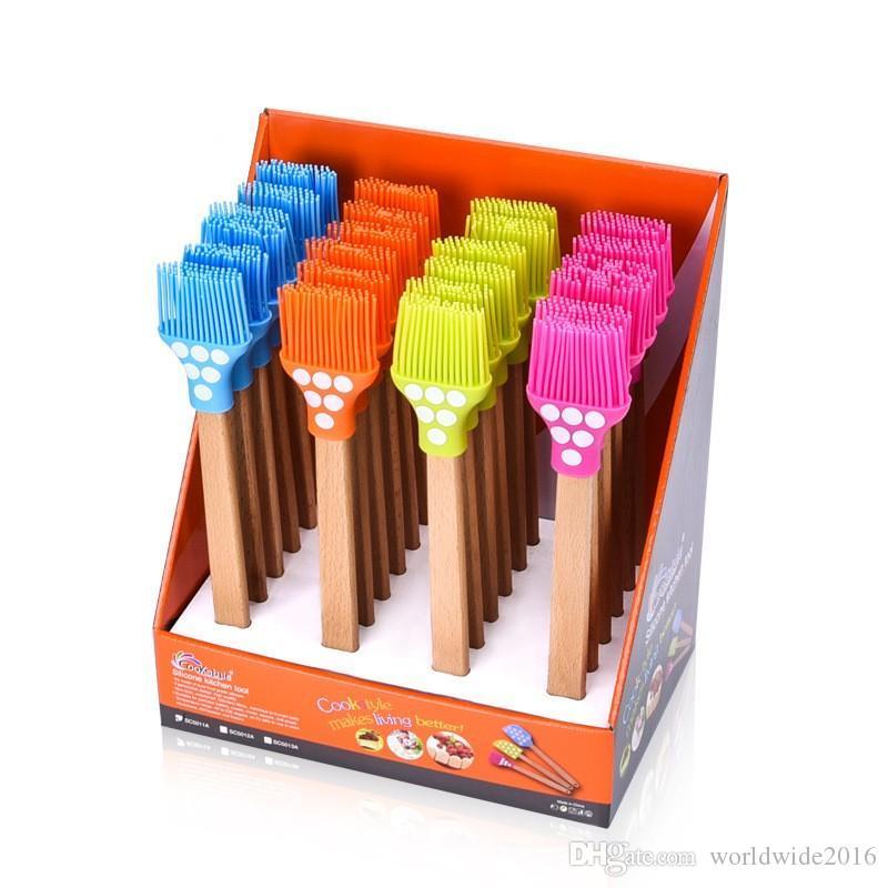 Новые Силиконовые масляные щетки для барбекю с деревянной ручкой Кисточка для барбекю Высокотемпературные формы для выпечки Торт масляная щетка