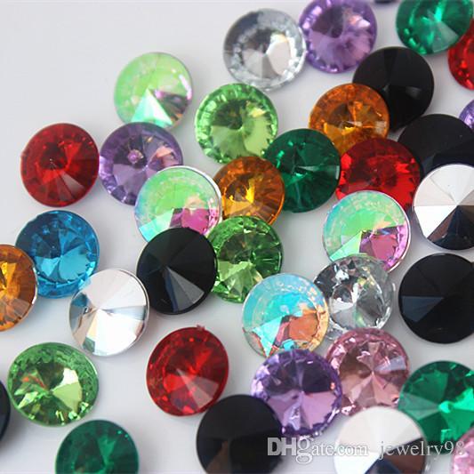 Micui 500pcs 10mm Rhinestone acrilico Perline Pointback pietre di cristallo Strass per gioielli abito da sposa fai da te Decorazione artigianato DH737