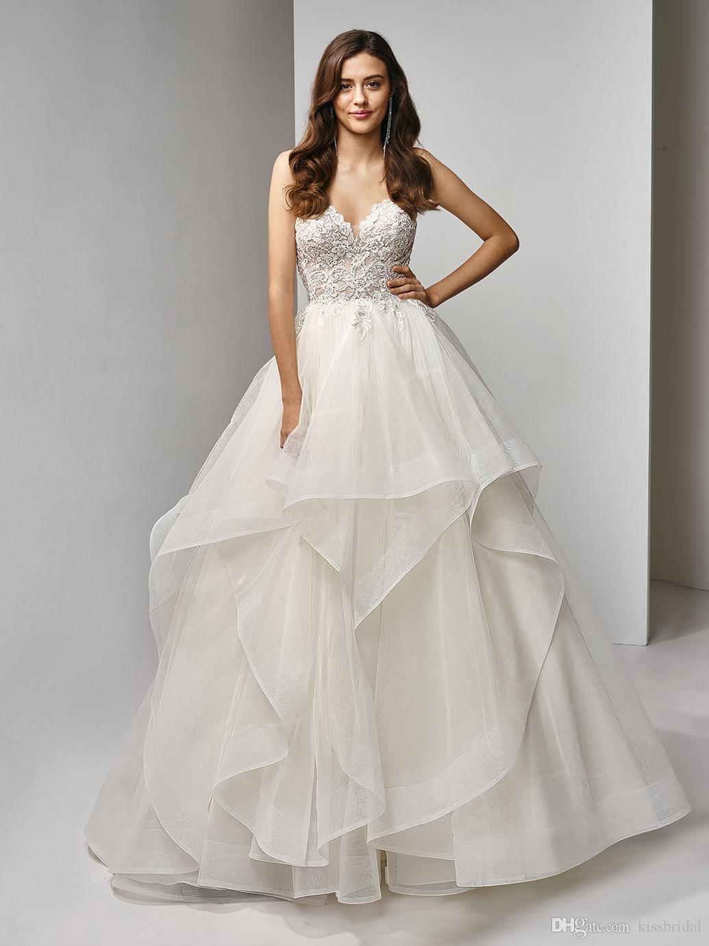 Vestidos de novia sin mangas sin tirantes blancos atractivos 2020 Vestido de Novia Falda en cascada Vestido de novia con blusa de encaje Vestidos de novia con espalda baja
