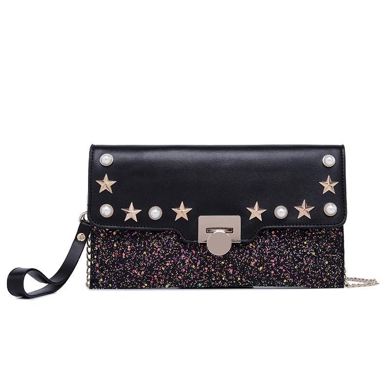 rebite Messenger Bag personalidade versátil temperamento Bolsa da mulher de couro Moda Carteiras longo da embreagem bolsa Cartão Holde