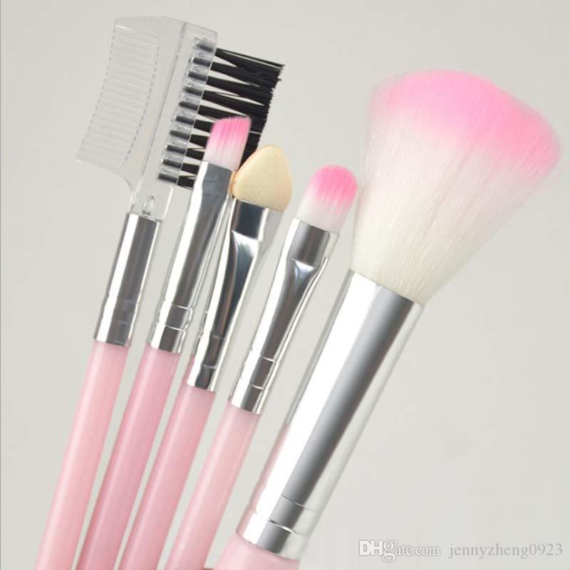 5pcs Hot Sale Pink Blue Make-Up Brushes Set Eyeshadow Powder Blush Eyelash Eyebrow Brush Set Women's Make-Up Beauty Cosmetic