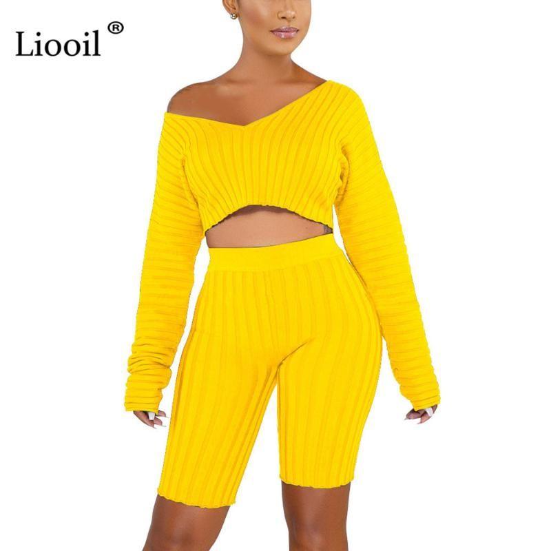 Liooil черный комплект из двух частей зима с плеча Сексуальная 2 шт комплект топ и брюки наряды для женщин зеленый желтый 2019 соответствующие наборы