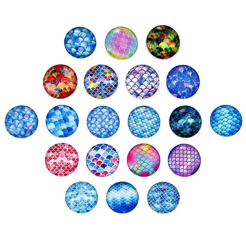 Rotonda dei monili di vetro Cabochons DIY che fanno parte posteriore piana cabochon per orecchini Impostazioni Base braccialetto ciondolo 12/20 / 25mm / lot 20pcs