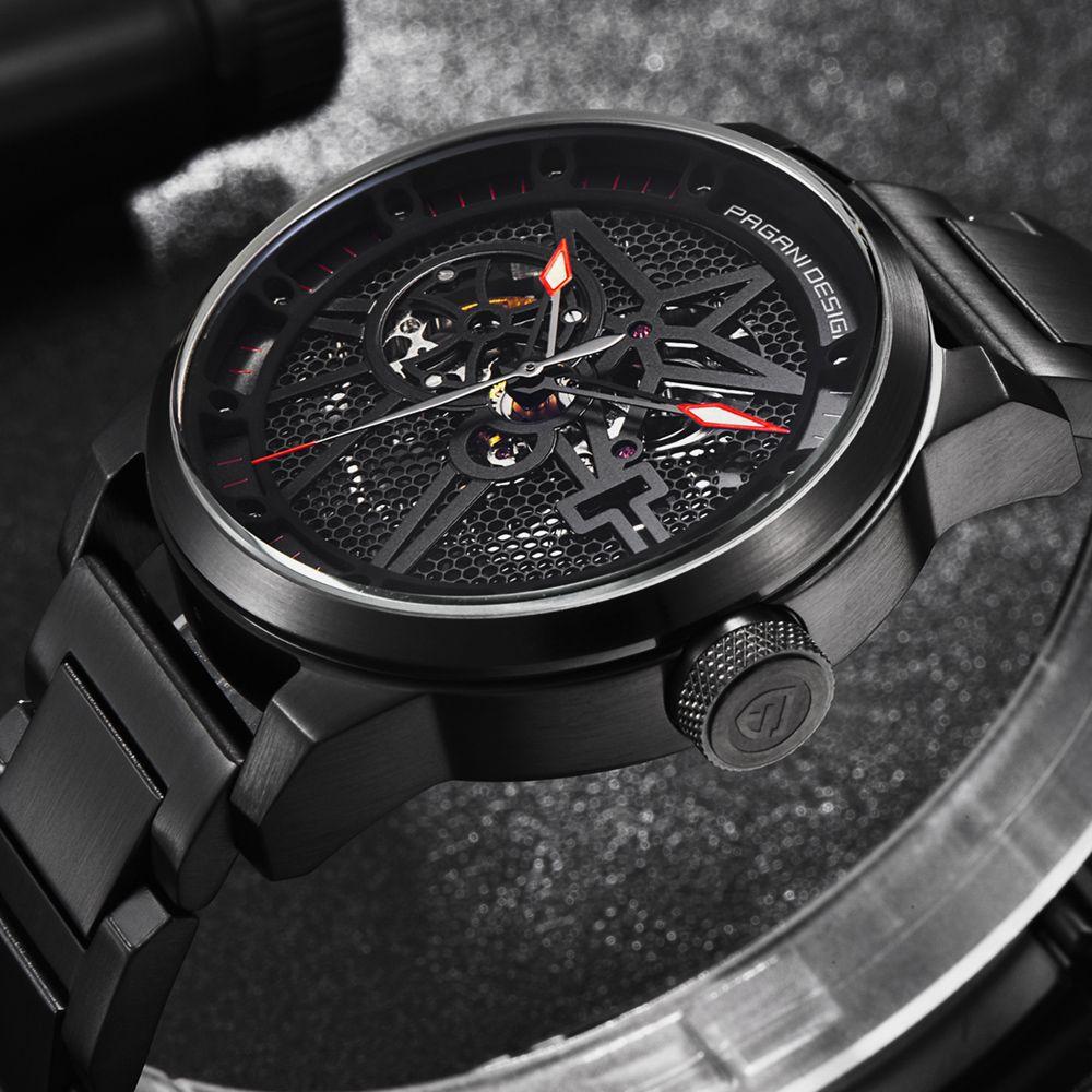 파가니 디자인 패션 스테인레스 스틸 남성 시계 해골 자동자가 바람 기계 손목 시계 비즈니스 시계를 dropshipping