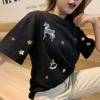 Rundkragenstickerei schwarz Kurzarm-T-Shirt weiblich 2019 früh Stil Student Basis Hemdober