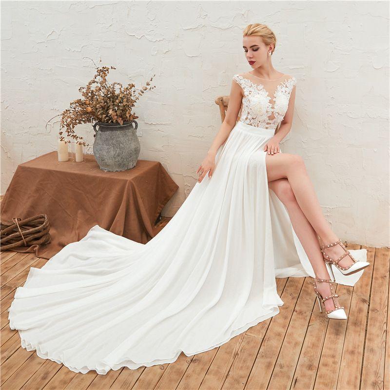 Sexy Beach Bohemian Wedding Dresses 2020 Illusion Bodice Split Front Boho Chiffon Bridal Gowns For Wedding