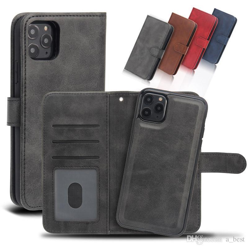 Para iPhone 11 Pro X Max caja de la carpeta de lujo de la PU de cuero magnético de la caja del teléfono 2en1 desmontable con las ranuras para tarjeta para Samsung Nota 10 S10