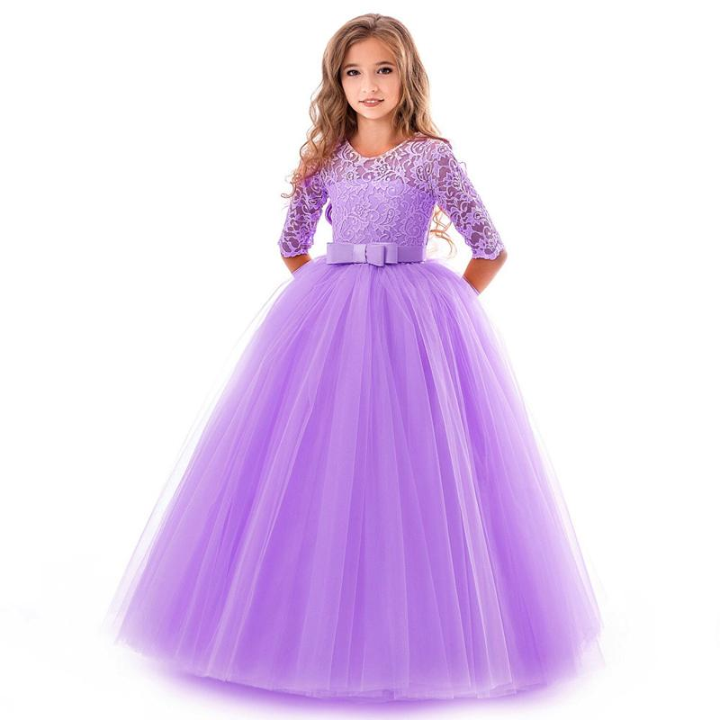 Girls Gown Princess Dress 17 Design Solid Mesh Prom Dresses Kids Clothes Girls Wedding Flower Girl Skirt Bow Lace Party Dresses 06