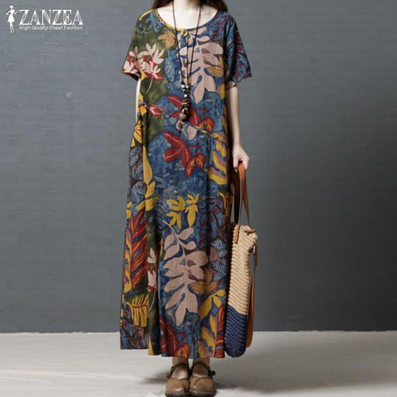 Vintage Casual Maxi Dress Women's Sundress 2019 Zanzea Kaftan Print Linen Dress Female Short Sleeve Summer Long Vestidos Robe Y19052901