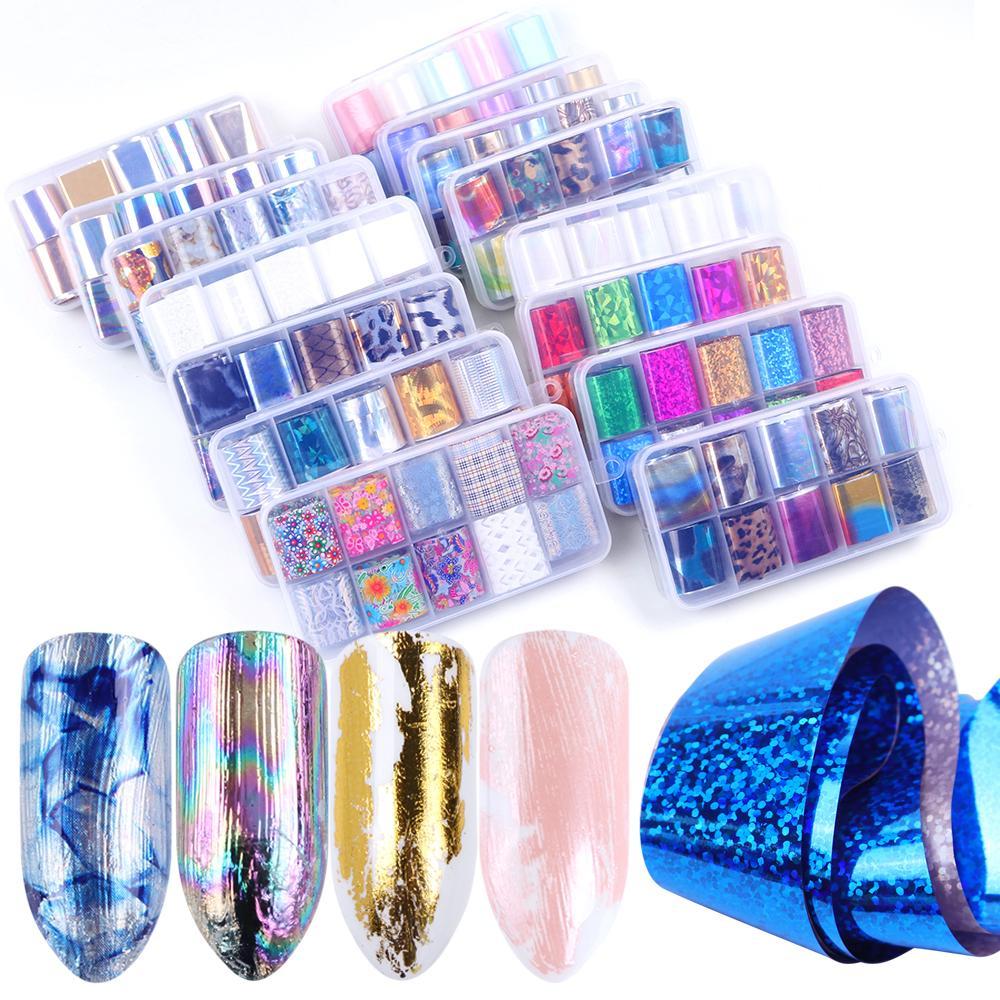 1 Caja Mixta de uñas cielo estrellado de la hoja Conjunto deslizante Champagne holográfica pegamento Transferencia engomada de papel Envolturas de uñas de arte Decoración JI934