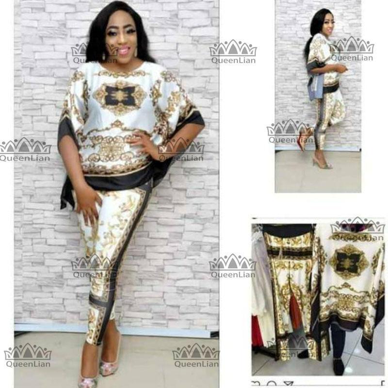 2018 أزياء Dashiki الأفريقية Dashiki البدلة الجديدة (أعلى والسراويل) سوبر مطاطا حزب زائد الحجم للسيدة