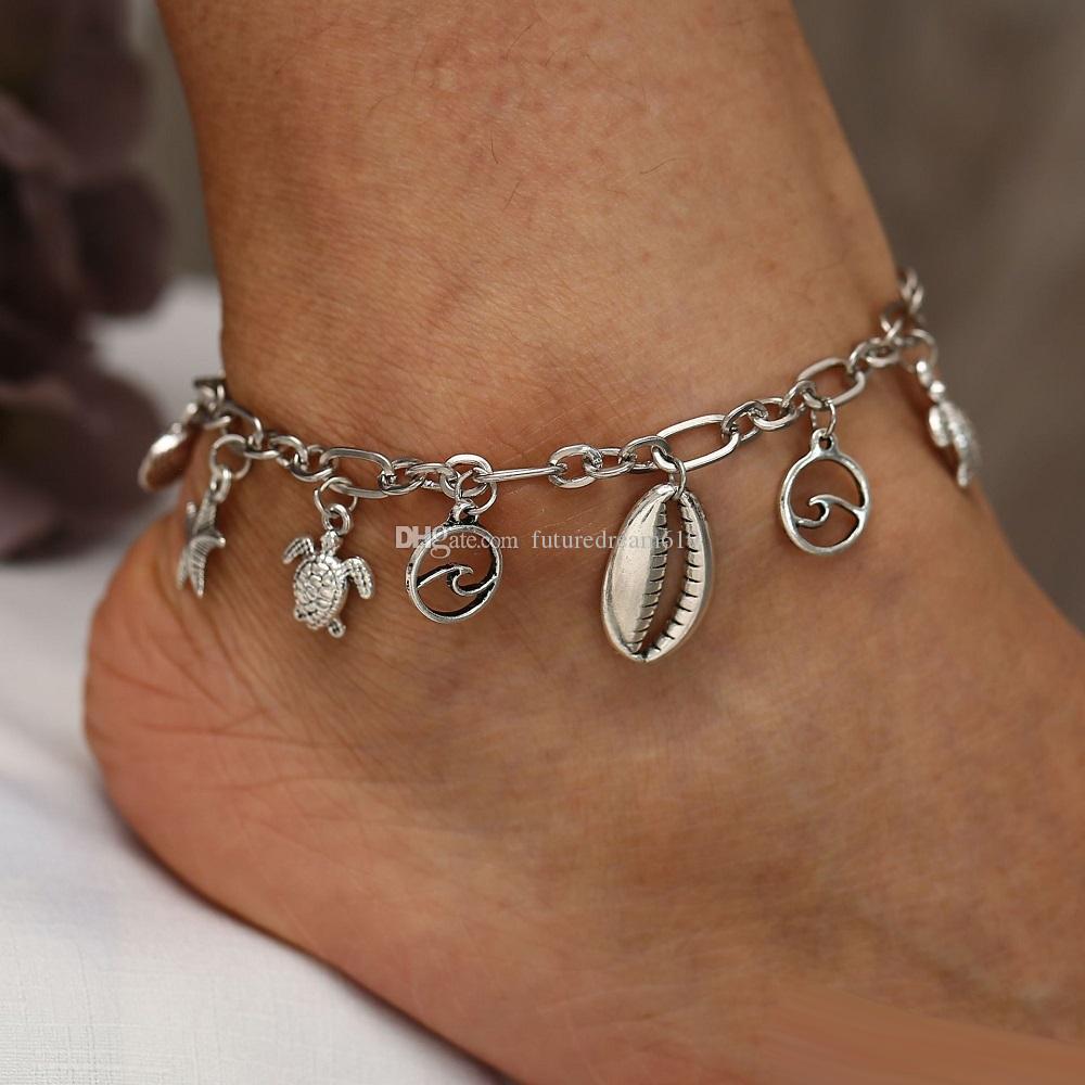 Женщины Богемия ретро-стиле древних тибетских серебряных браслетов морские звезды морские раковины черепахи кулон из бисера цепи ноги йога пляжные браслеты оптом