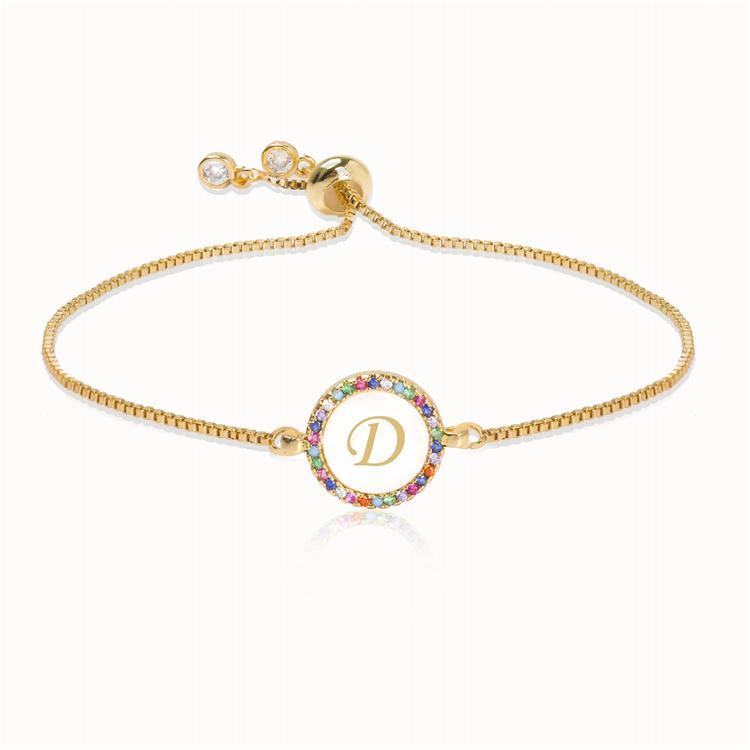 Arc-en-26 coloré Zircon Bracelet lettre pour femmes bracelet réglable initial fille serpent bijoux de la chaîne cadeau de Noël en gros MJJ54