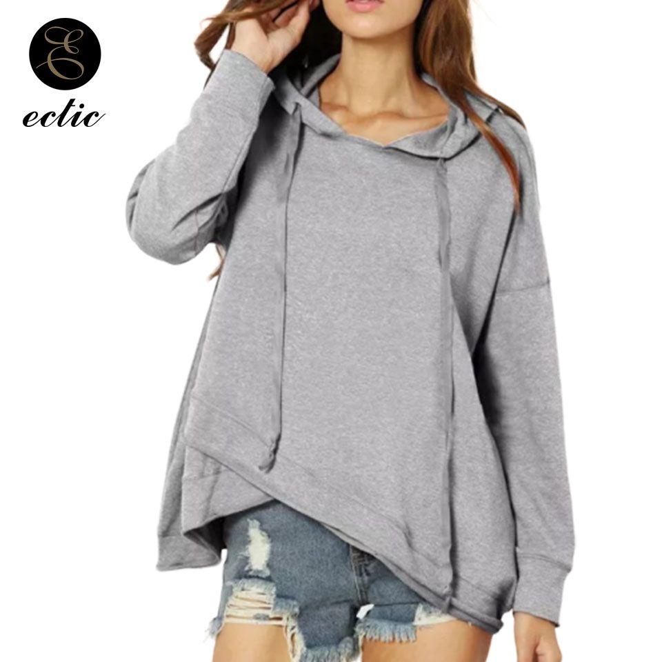 Lace Up Kordelzug Hoodie 3xl Poleron Mujer 2019 Frauen Tunika Langarm Unregelmäßige Hoodie Plain T-Shirt Rot Pullover