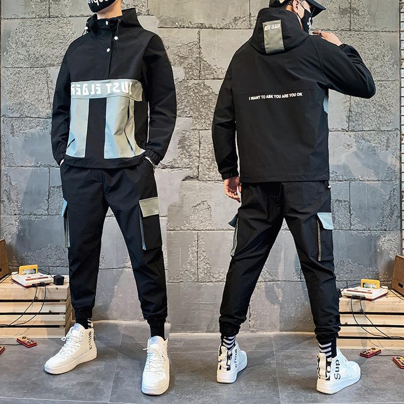 mens sport stilista adolescente casuale casacca personalizzata di tendenza insieme a due pezzi
