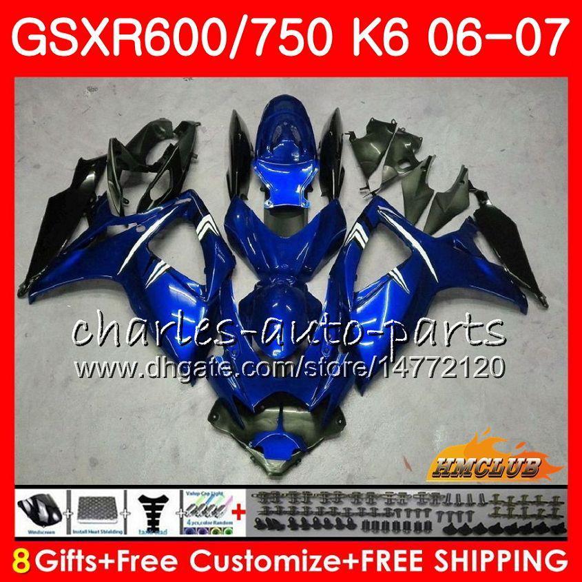 Suzuki GSX R600 GSX-R750 GSXR-600 GSXR600 06-07 8HC.29 GSX R750 GSXR 600 750 06 07 K6 GSXR750 2006 2007 광택 블루 새로운 페어링 키트