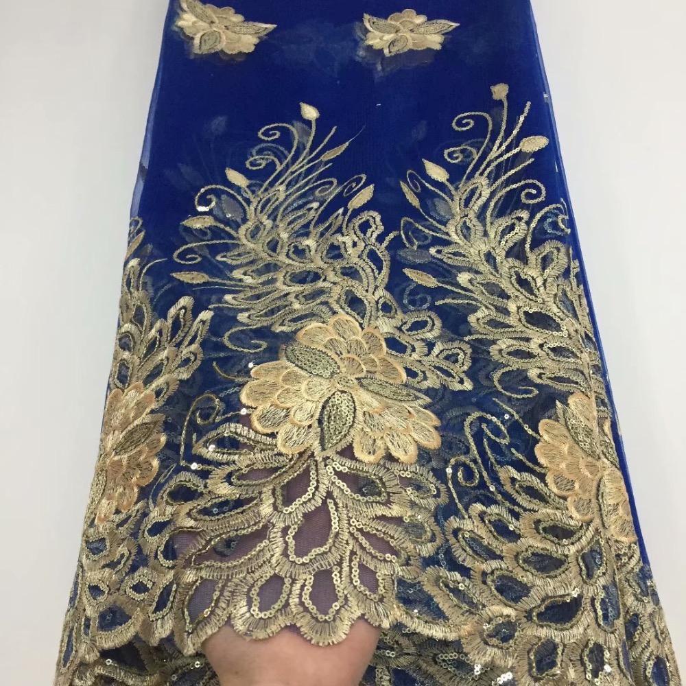 2019 heißer Verkauf Französisch Afrikanisches Spitzegewebe Guipure Blue Gold Pailletten Cord Tüll Nigerian Mesh Indien Spitze Für Hochzeitskleid