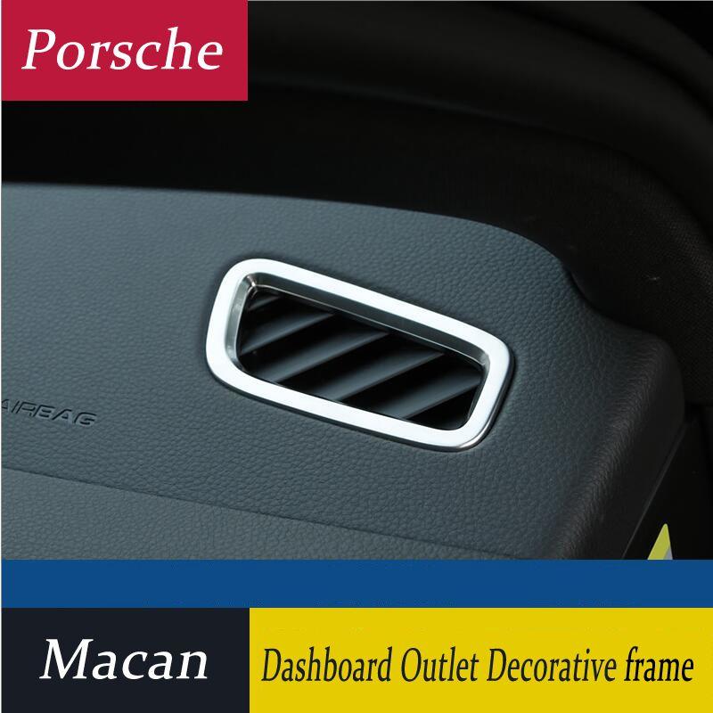 Car Styling panel de Chrome Aire acondicionado Condición de la salida de ventilación cubierta de marco de ajuste de la decoración para Porsche Macan Accesorios para automóviles