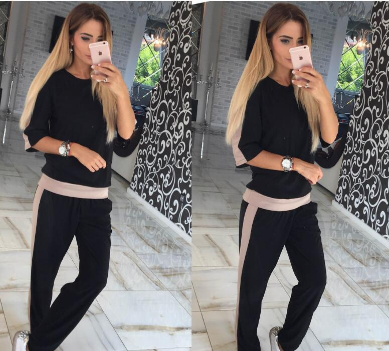 2 Piece Set Women Sport Suit Print Tracksuits Pant Pullover O-neck Long Sleeve Women Sportswear