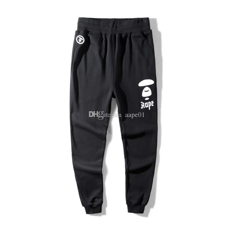 New Aape Mens Designer Pants Fashion Mens Casual Pants AAPE High Quality Beam Foot Trousers Black Designer Mens Pants M-3XL