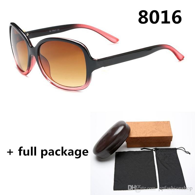 With New Box Eyeglasses Ladies Round Big Frame Fashion Face Sunglasses Designer Glasses 6 Colors 8016 Brand Xoaos
