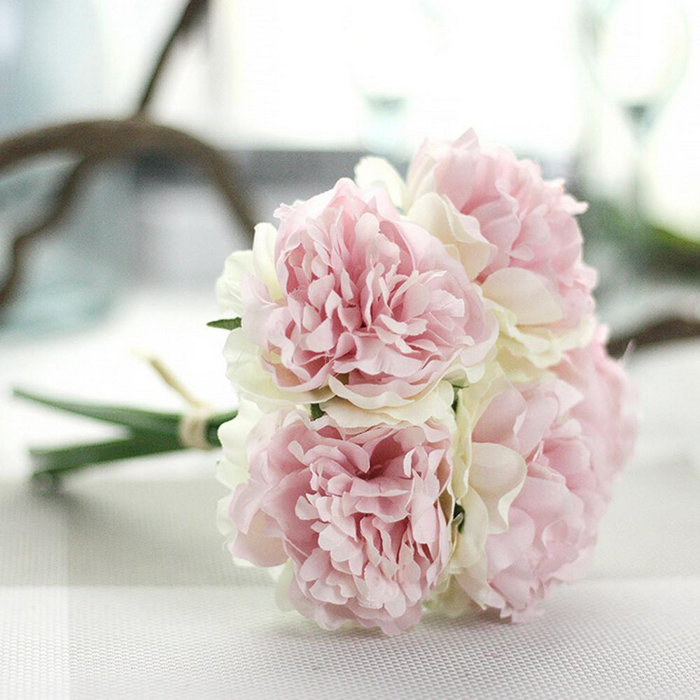 20 # Fiori artificiali di seta finti caldi Bouquet floreale di peonia Bouquet da sposa Ortensia da sposa Naturale Realistico Bello