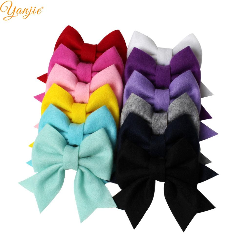"12pcs/lot Hot-sale 3"" Soft Felt Non-woven Hair Bows Ponytail Barrette Hair Clips For Women DIY Girls Hair Accessories Mujer"